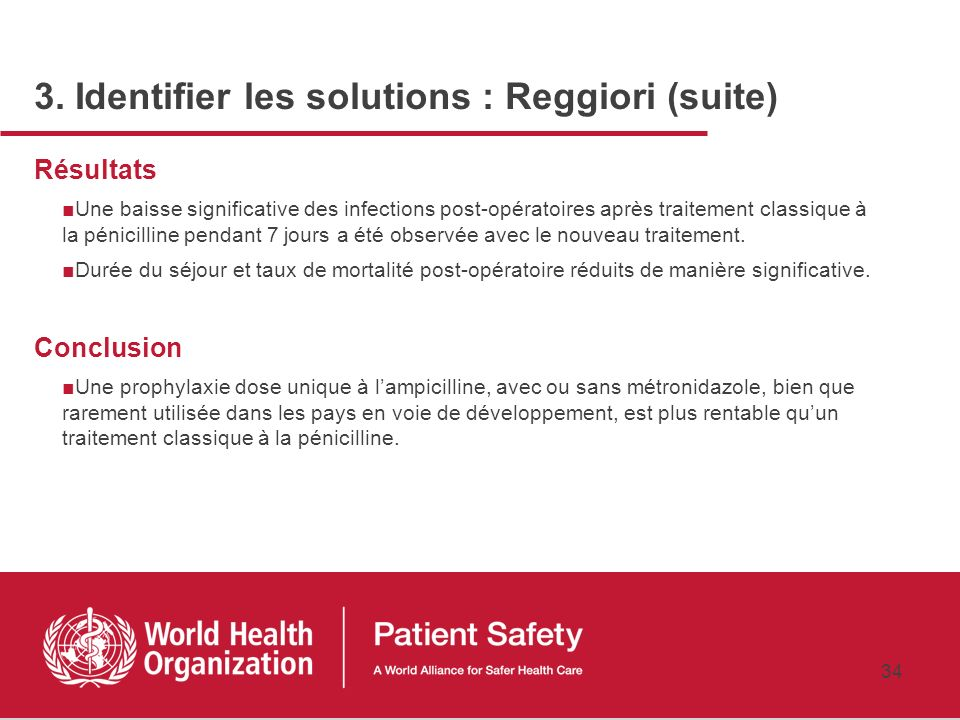 3. Identifier les solutions : Reggiori (suite)