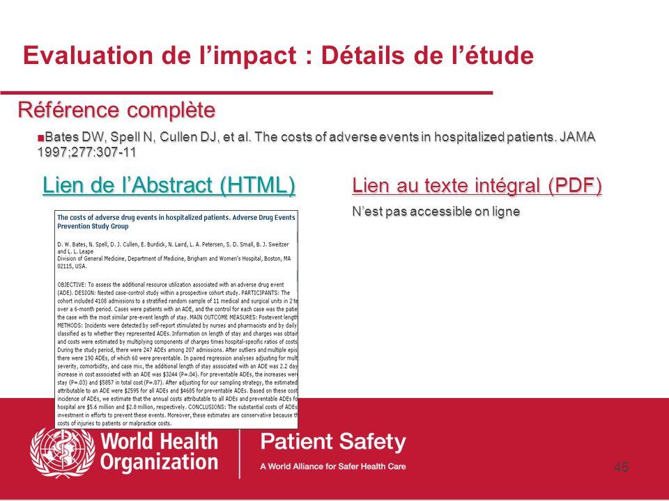 Evaluation de l'impact : Détails de l'étude