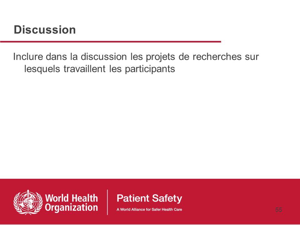 Discussion Inclure dans la discussion les projets de recherches sur lesquels travaillent les participants.