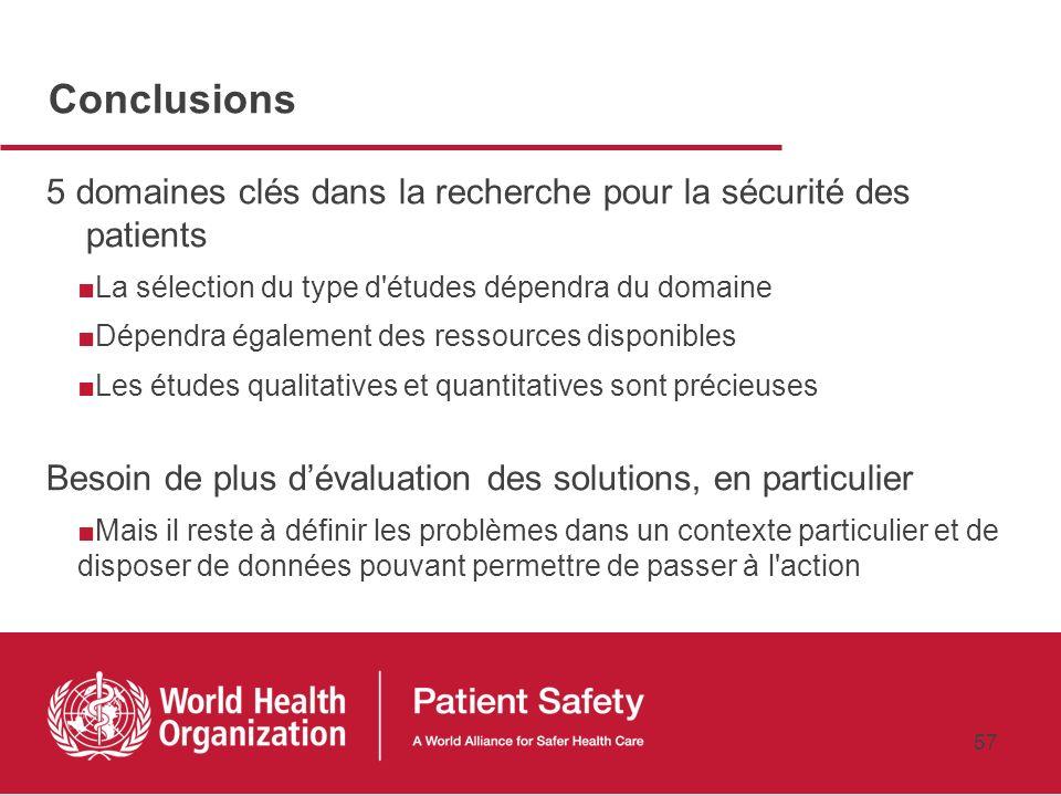 Conclusions 5 domaines clés dans la recherche pour la sécurité des patients. La sélection du type d études dépendra du domaine.