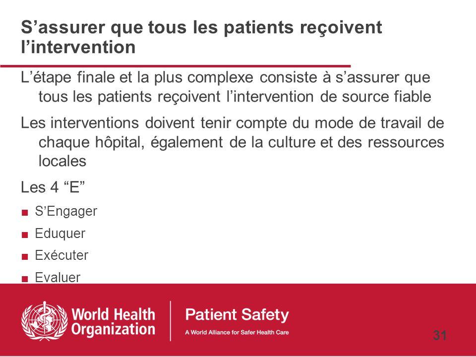 S'assurer que tous les patients reçoivent l'intervention