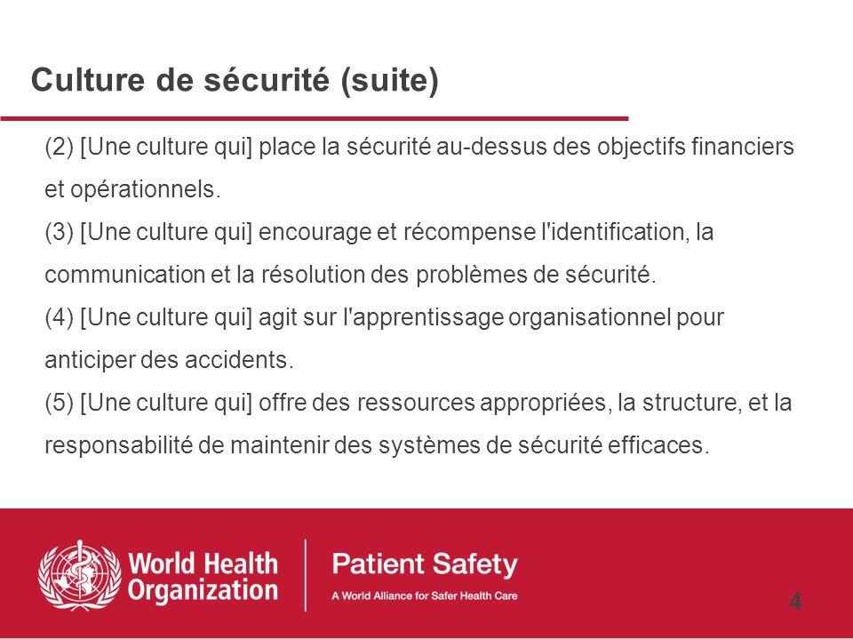 Culture de sécurité (suite)