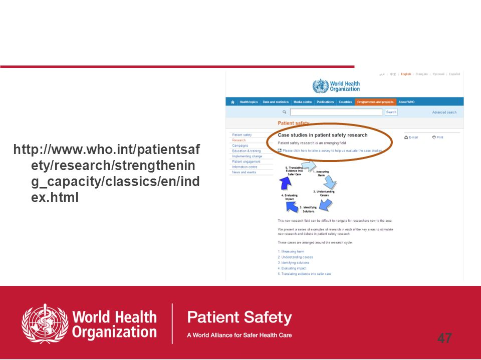 http://www.who.int/patientsafety/research/strengthening_capacity/classics/en/index.html 47