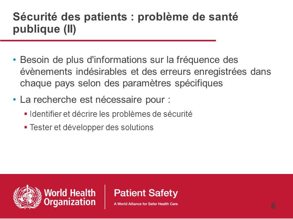 Sécurité des patients : problème de santé publique (II)