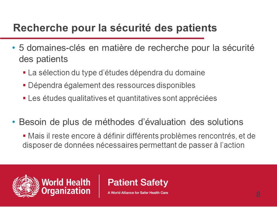 Recherche pour la sécurité des patients