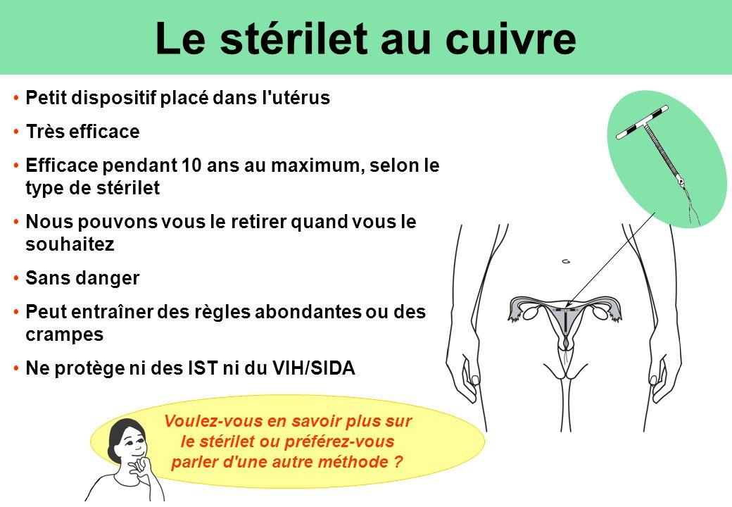 Le stérilet au cuivre Petit dispositif placé dans l utérus