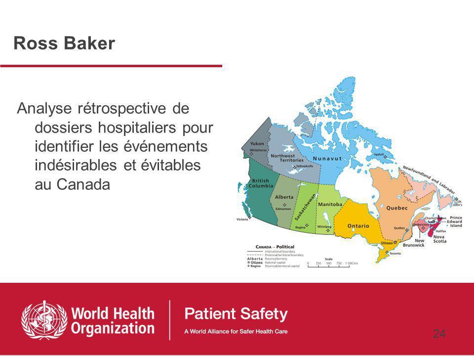 Ross Baker Analyse rétrospective de dossiers hospitaliers pour identifier les événements indésirables et évitables au Canada.