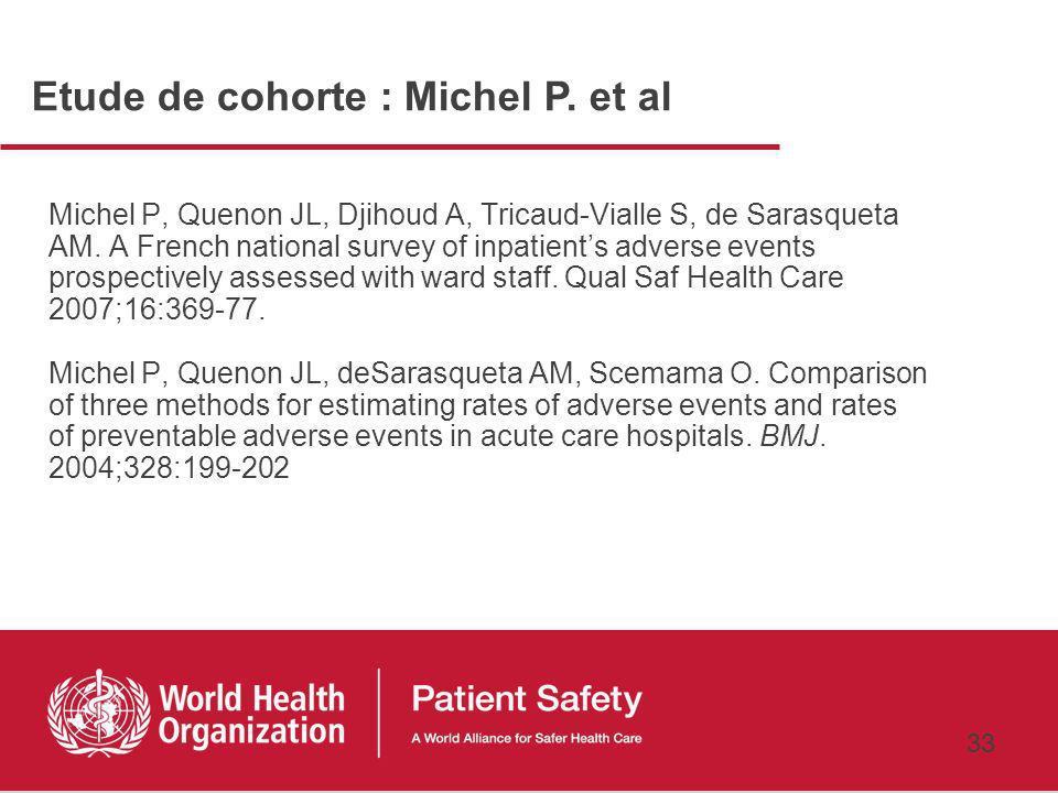 Etude de cohorte : Michel P. et al