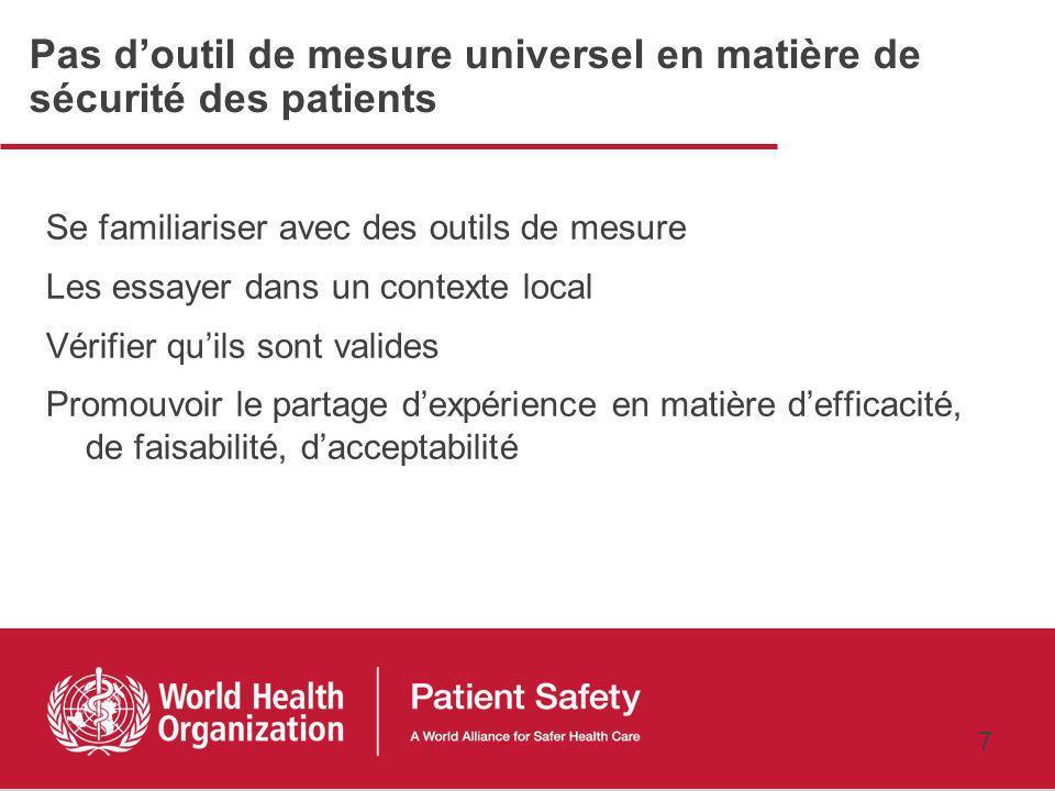 Pas d'outil de mesure universel en matière de sécurité des patients