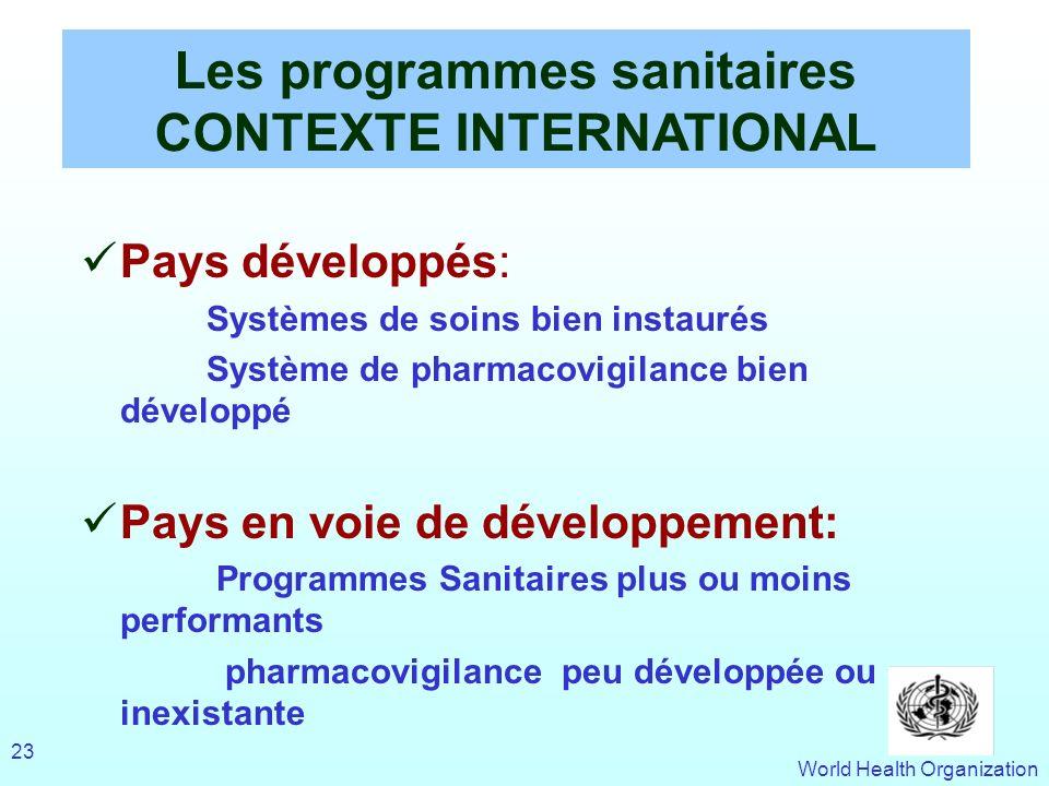 Les programmes sanitaires CONTEXTE INTERNATIONAL