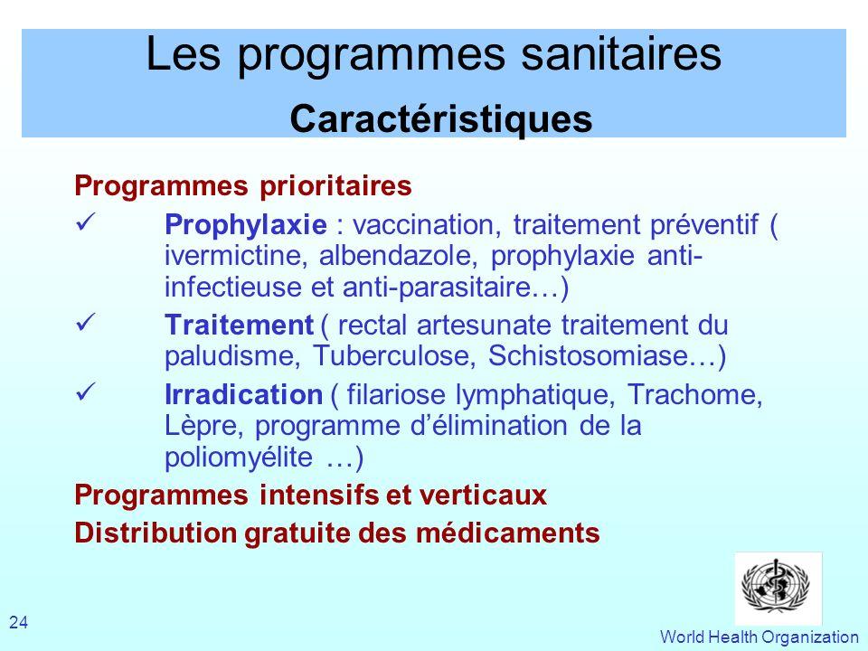Les programmes sanitaires Caractéristiques