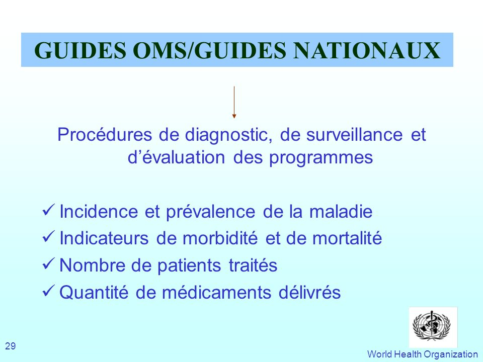 GUIDES OMS/GUIDES NATIONAUX
