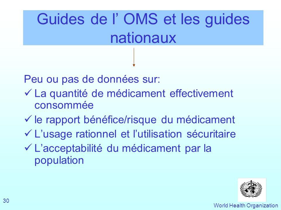 Guides de l' OMS et les guides nationaux