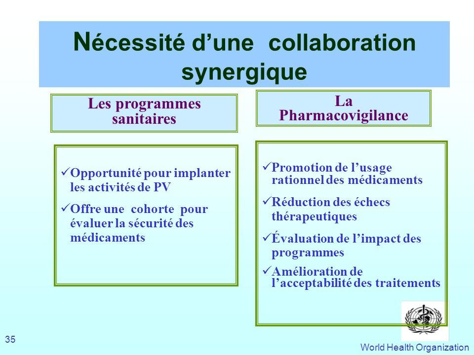 Nécessité d'une collaboration synergique Les programmes sanitaires