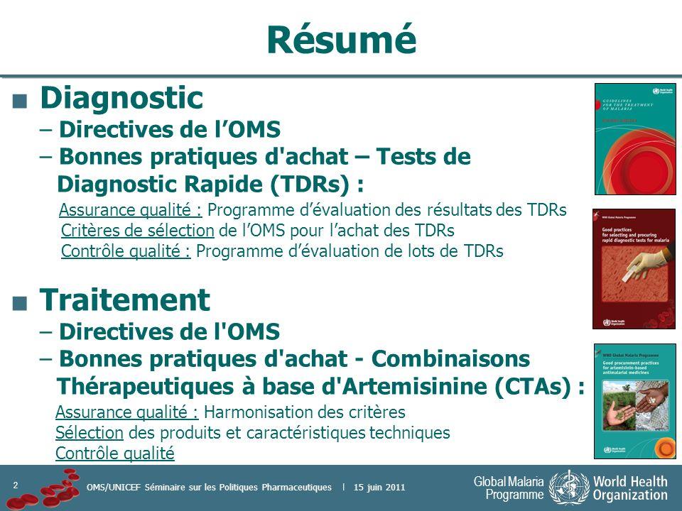 Résumé Diagnostic Traitement – Directives de l'OMS