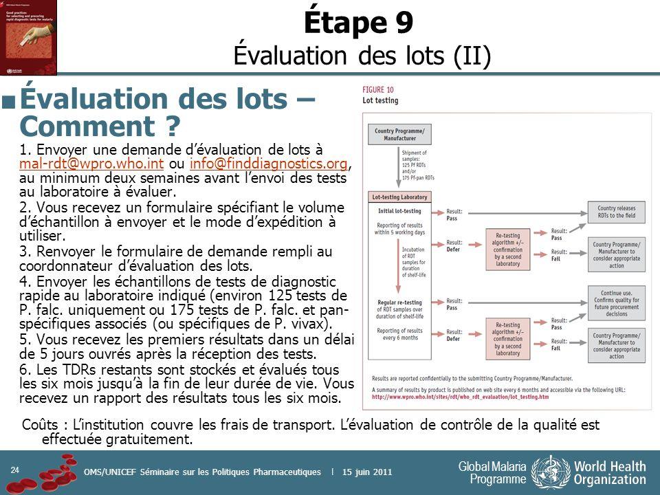 Étape 9 Évaluation des lots (II)