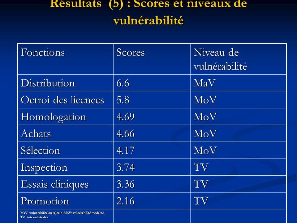 Résultats (5) : Scores et niveaux de vulnérabilité