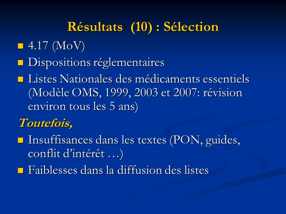 Résultats (10) : Sélection