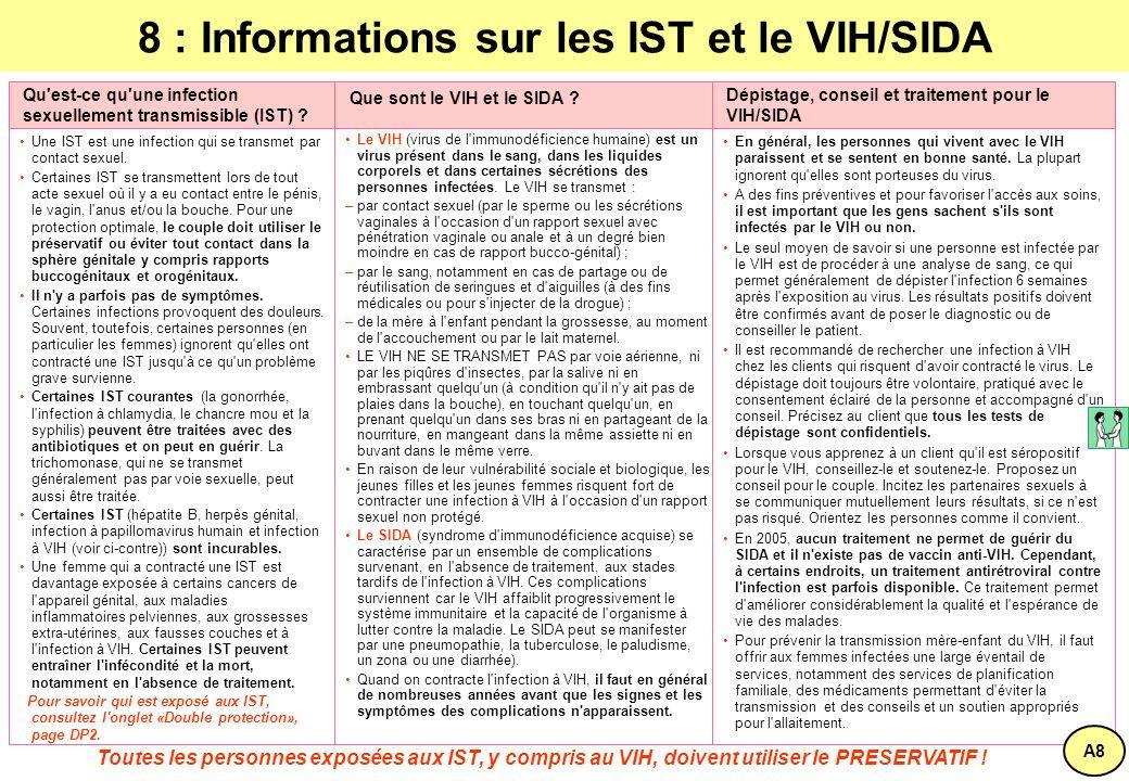 8 : Informations sur les IST et le VIH/SIDA