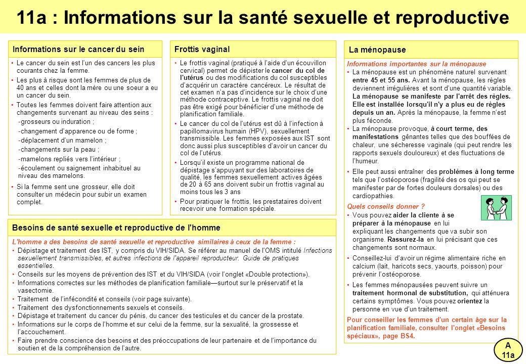 11a : Informations sur la santé sexuelle et reproductive