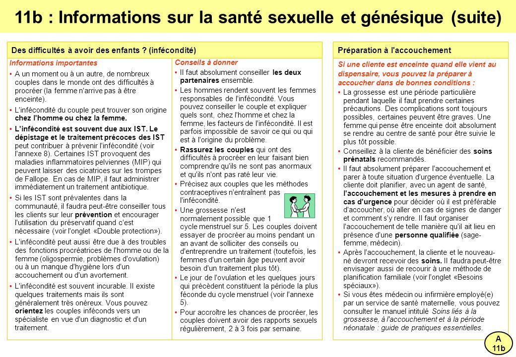 11b : Informations sur la santé sexuelle et génésique (suite)