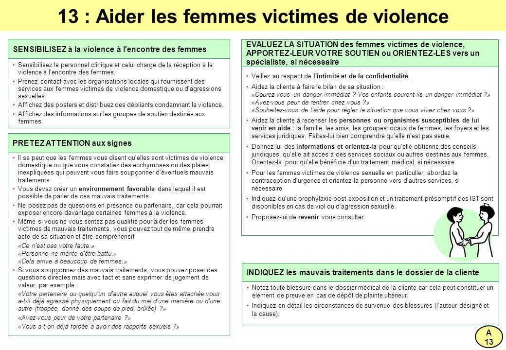 13 : Aider les femmes victimes de violence