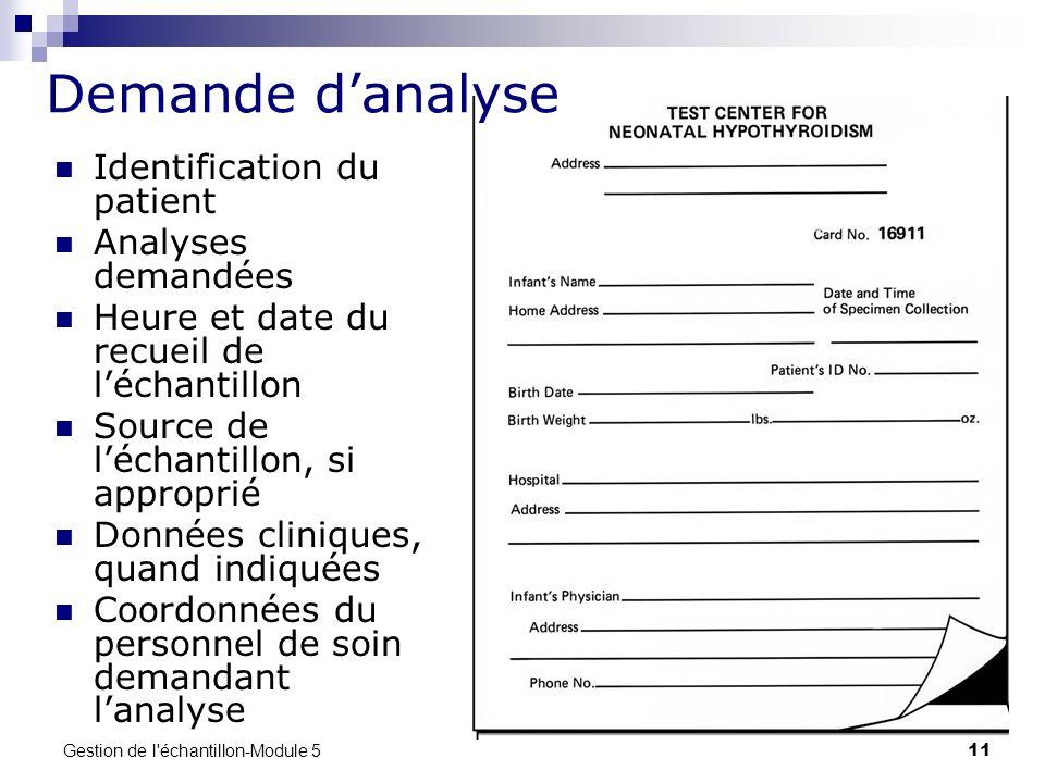 Demande d'analyse Identification du patient Analyses demandées