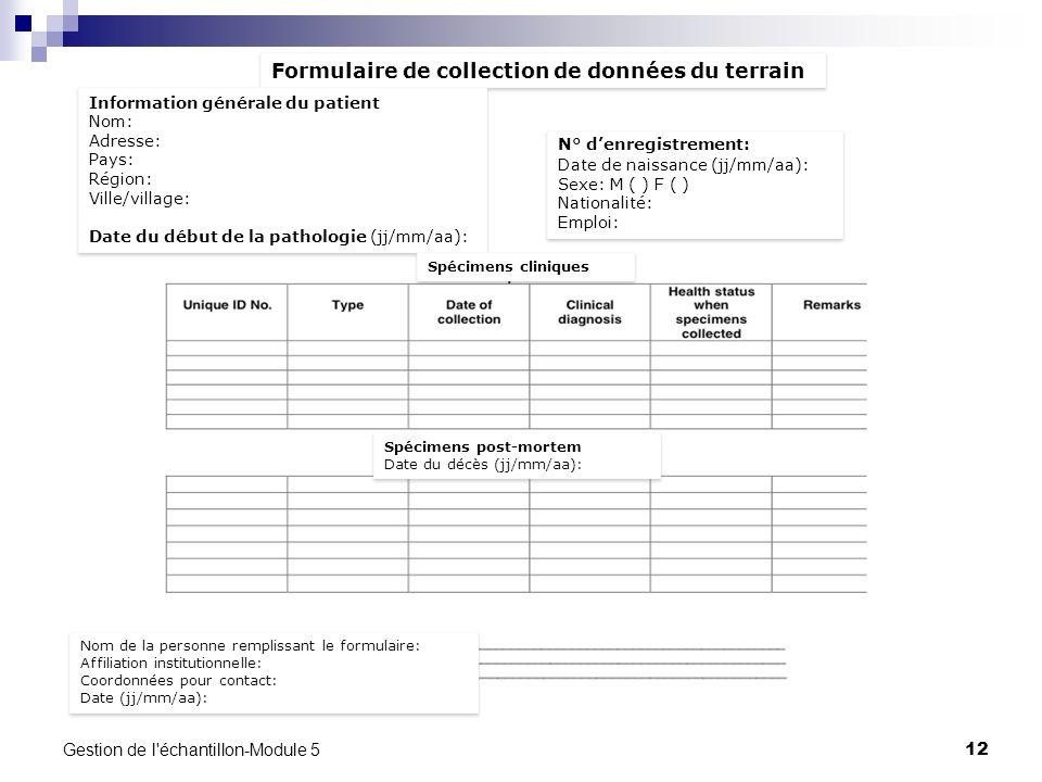 Formulaire de collection de données du terrain