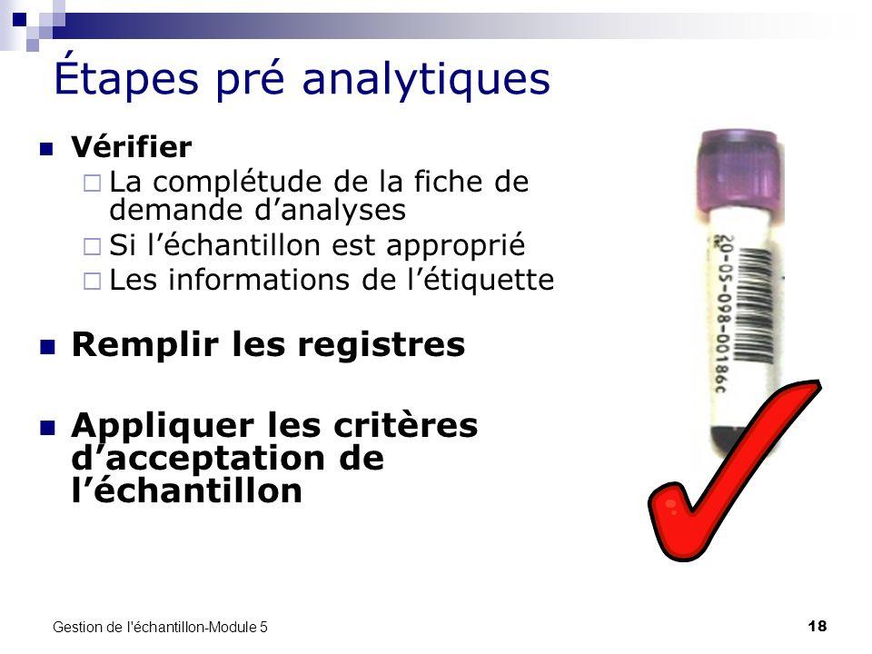 Étapes pré analytiques