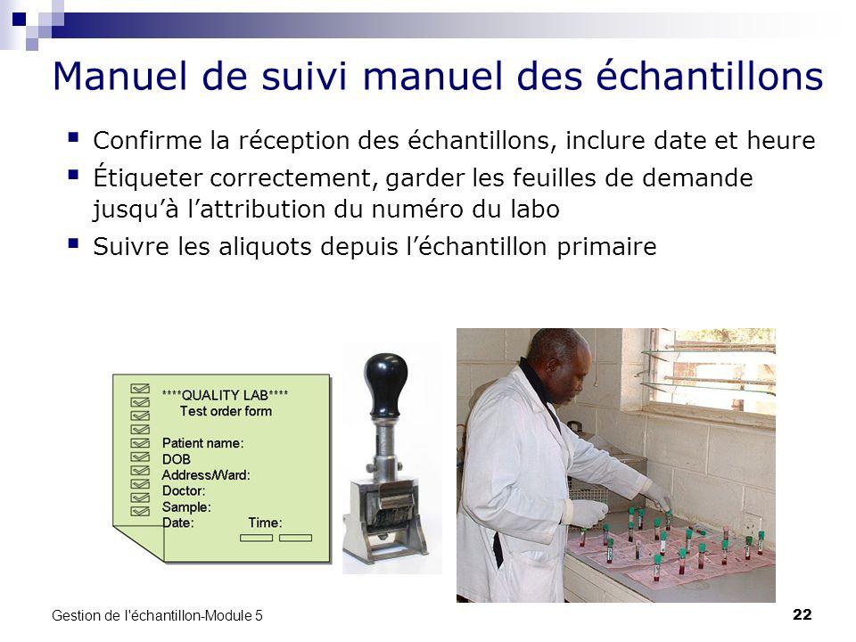 Manuel de suivi manuel des échantillons