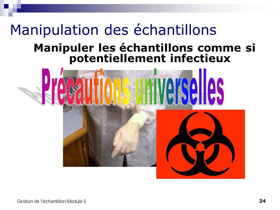 Manipuler les échantillons comme si potentiellement infectieux