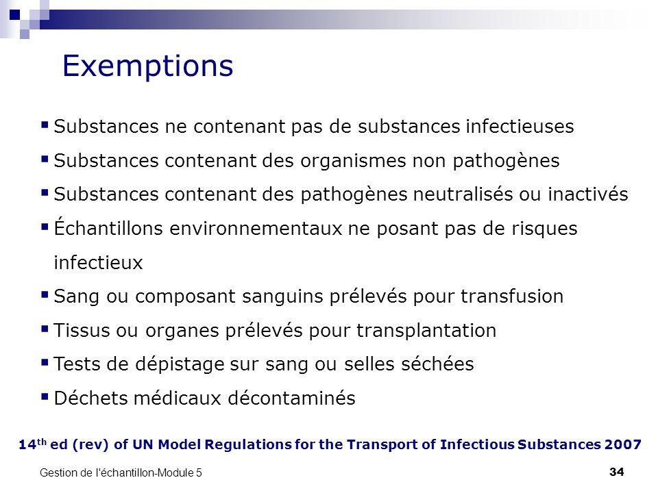 Exemptions Substances ne contenant pas de substances infectieuses