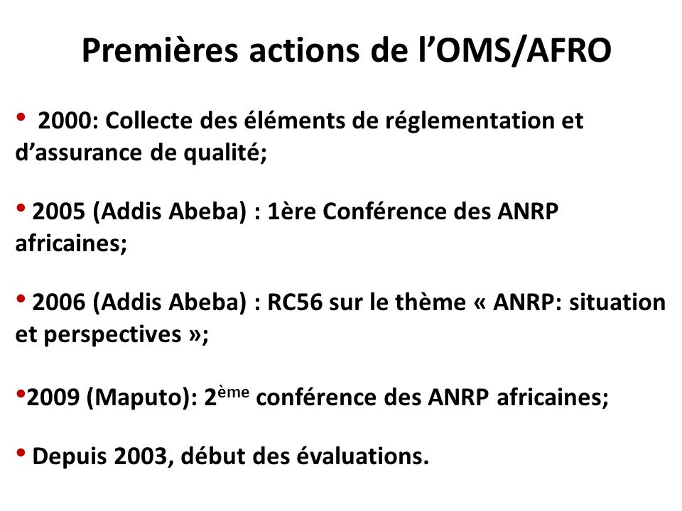 2005 (Addis Abeba) : 1ère Conférence des ANRP africaines;