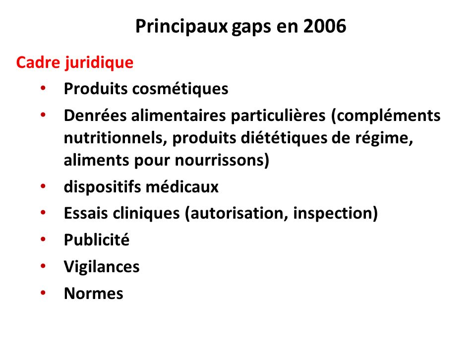 Principaux gaps en 2006 Cadre juridique Produits cosmétiques