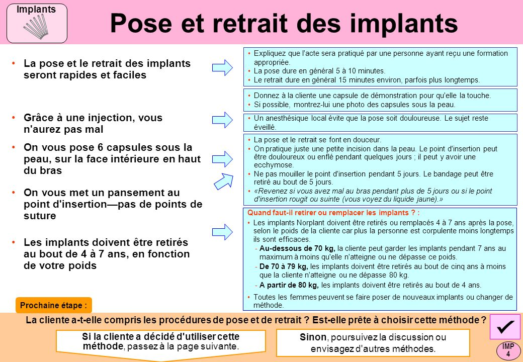 Pose et retrait des implants