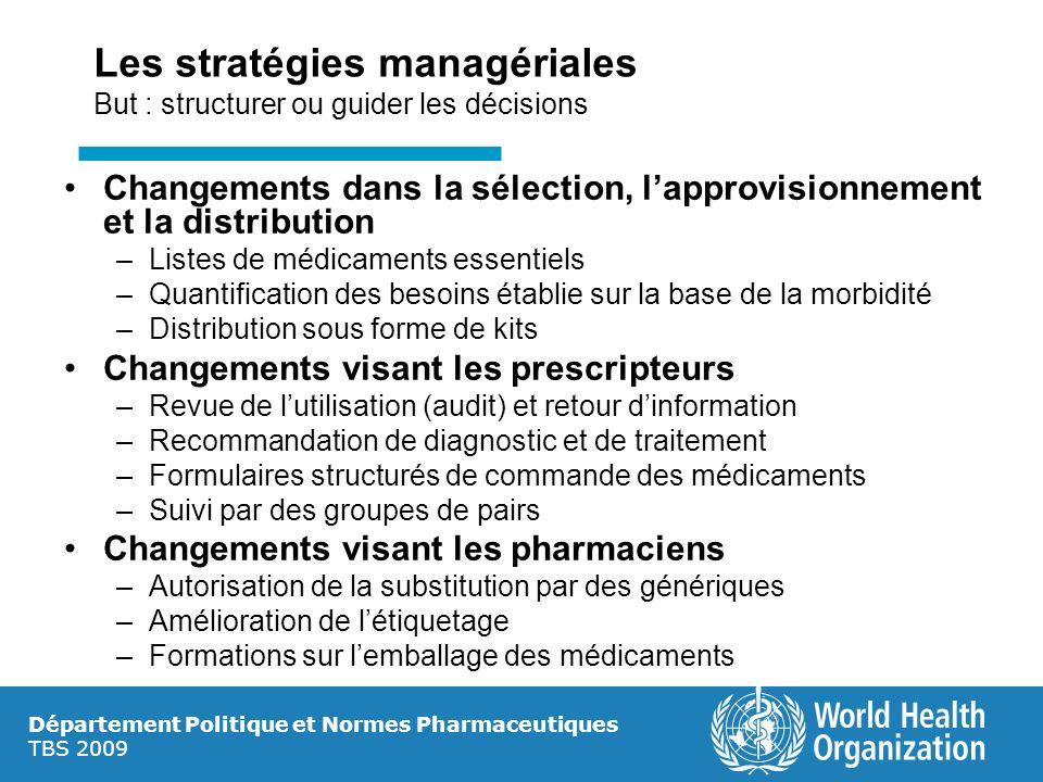 Les stratégies managériales But : structurer ou guider les décisions