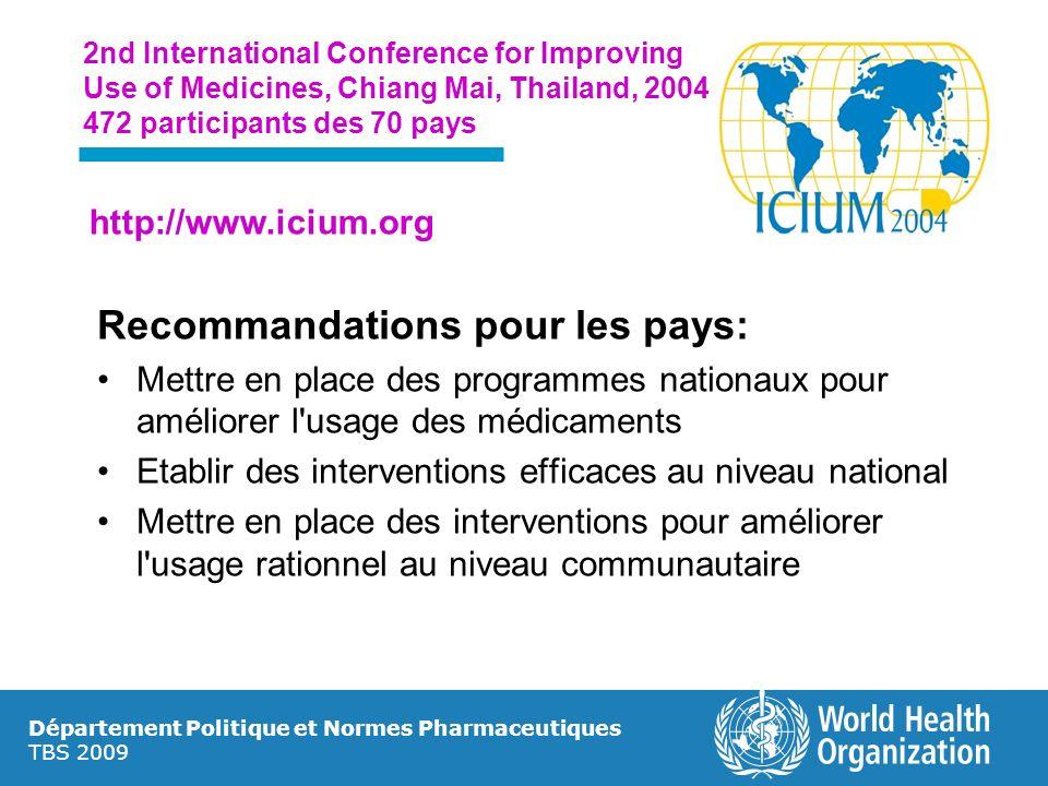 Recommandations pour les pays: