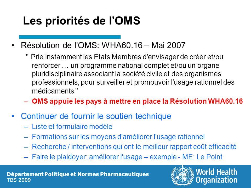 Les priorités de l OMS Résolution de l OMS: WHA60.16 – Mai 2007