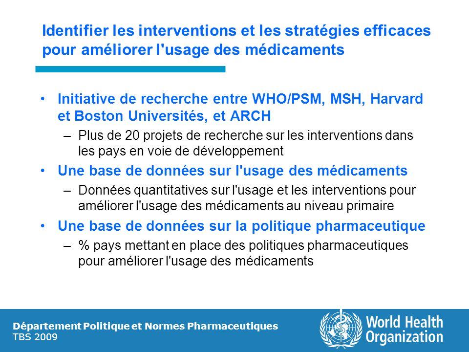 Identifier les interventions et les stratégies efficaces pour améliorer l usage des médicaments