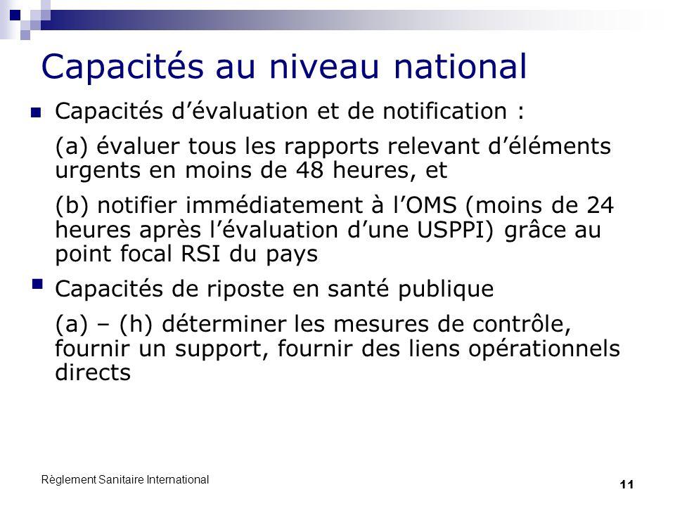 Capacités au niveau national