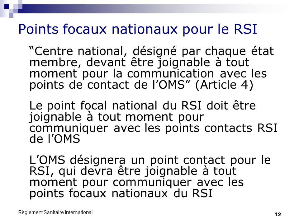 Points focaux nationaux pour le RSI