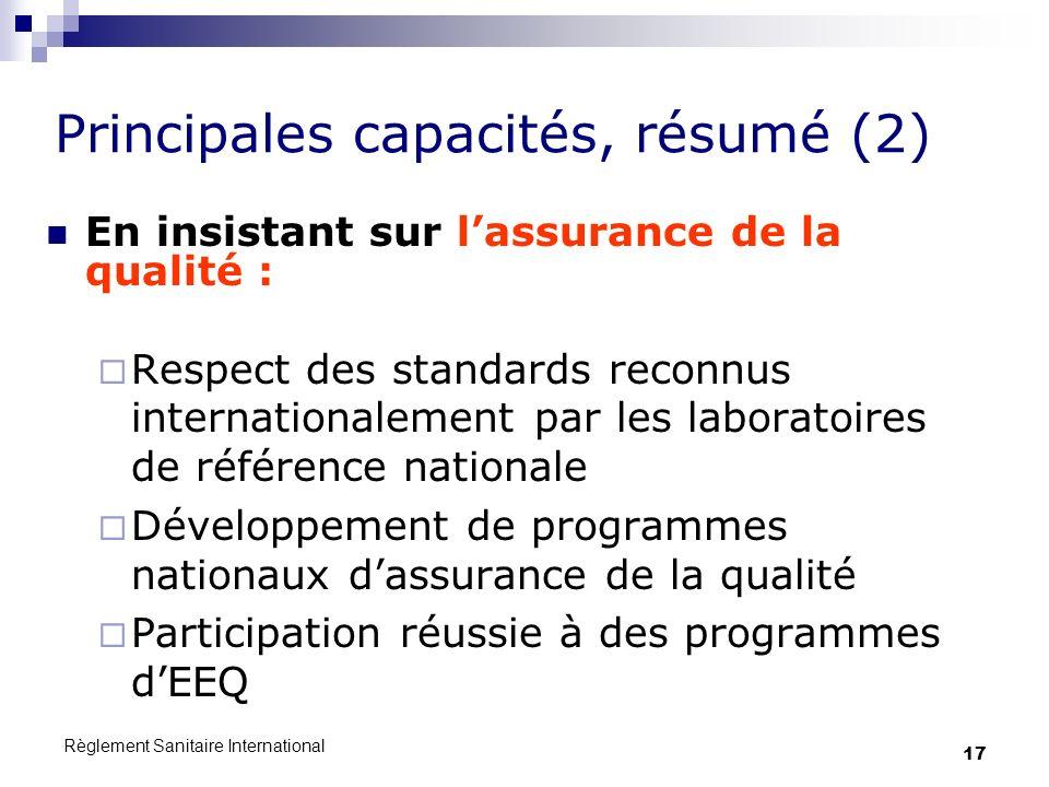 Principales capacités, résumé (2)