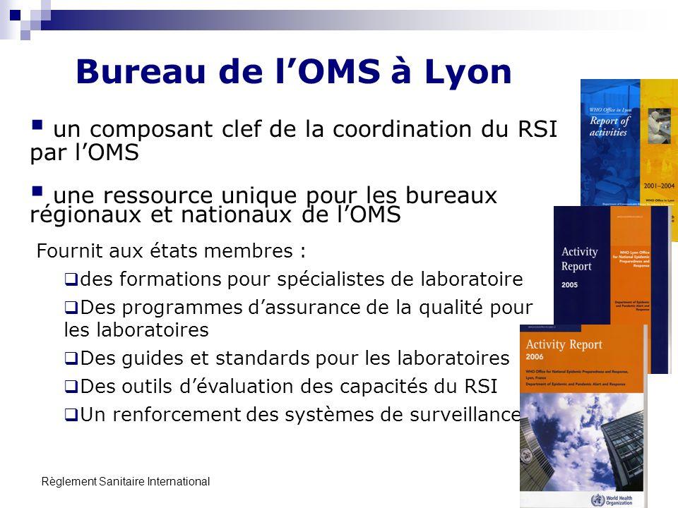 Bureau de l'OMS à Lyon un composant clef de la coordination du RSI par l'OMS. une ressource unique pour les bureaux régionaux et nationaux de l'OMS.
