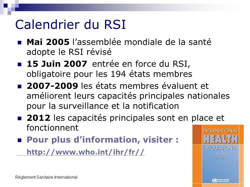 Calendrier du RSI Mai 2005 l'assemblée mondiale de la santé adopte le RSI révisé.