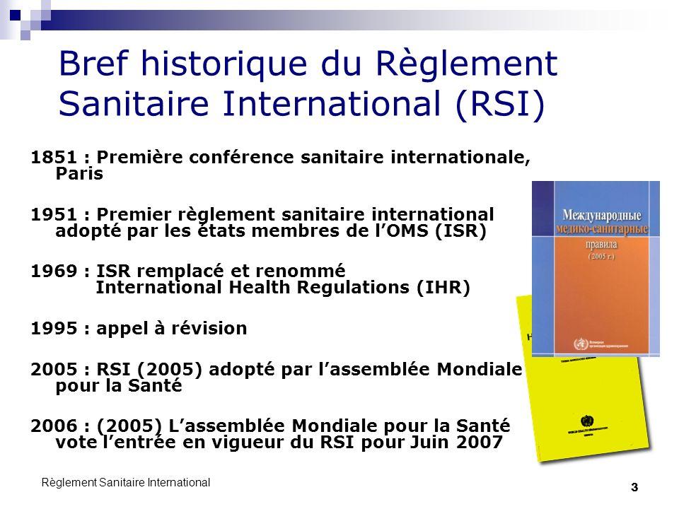 Bref historique du Règlement Sanitaire International (RSI)