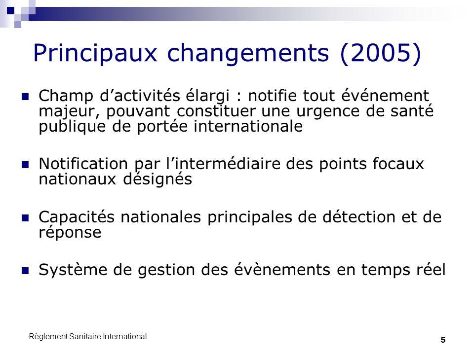 Principaux changements (2005)