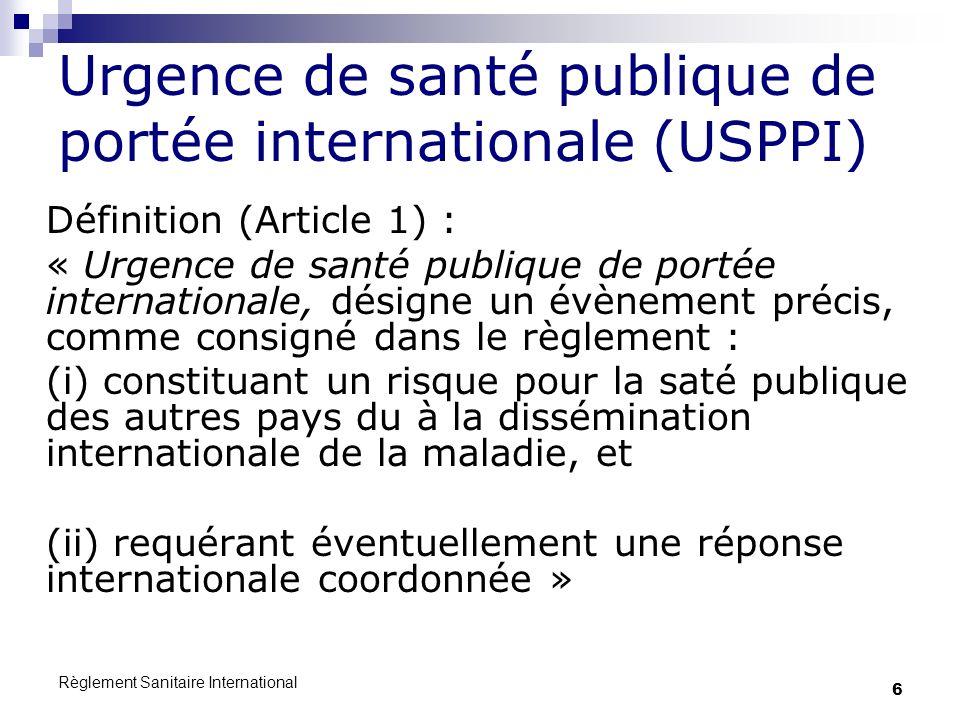 Urgence de santé publique de portée internationale (USPPI)