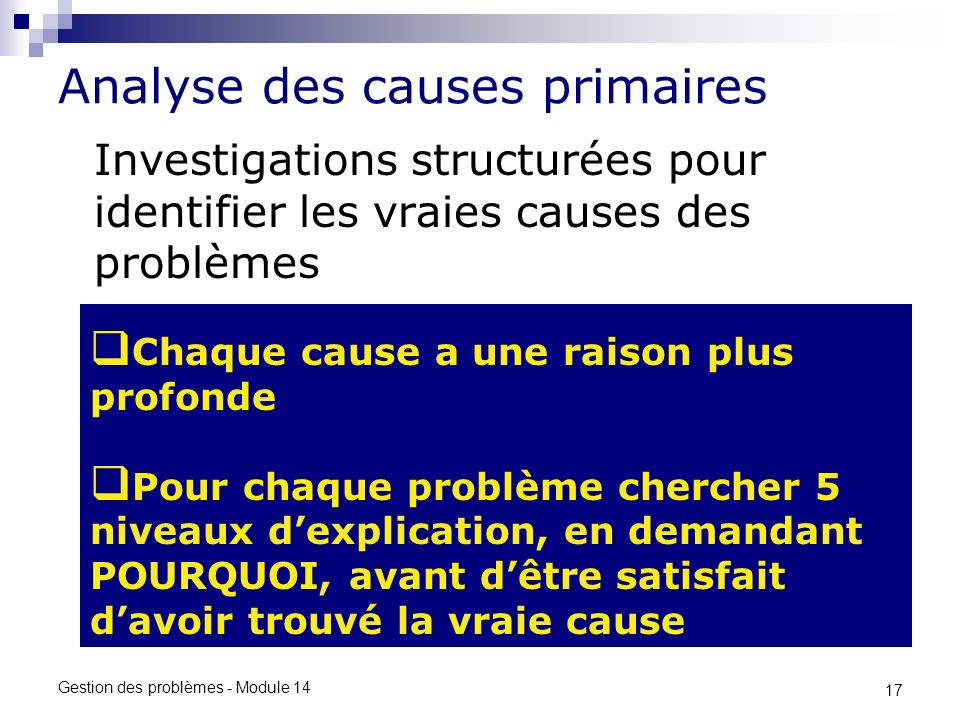 Analyse des causes primaires