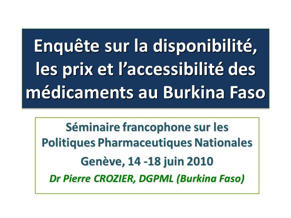 Enquête sur la disponibilité, les prix et l'accessibilité des médicaments au Burkina Faso