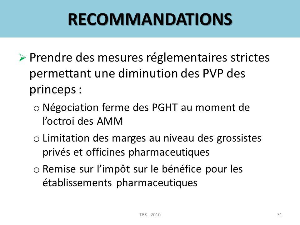 RECOMMANDATIONS Prendre des mesures réglementaires strictes permettant une diminution des PVP des princeps :
